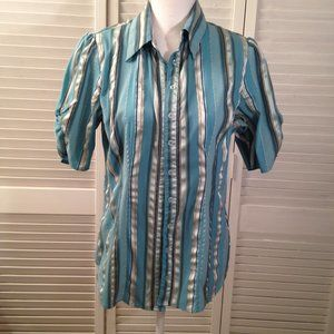 Cato M Stretch Blue Stripe Button Shirt